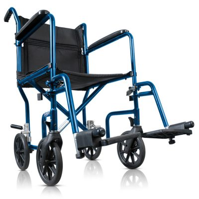 Portable Lightweight Transport Wheelchair with Detachable Footrests, Midnight Blue 700-869__1